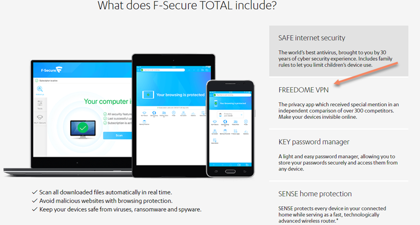 F-Secure TOTAL's Freedome VPN Module