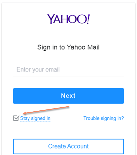 The Stay Signed in Ticked Box of Yahoo